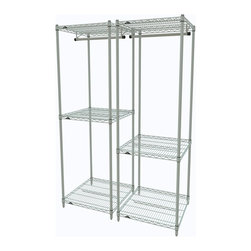 """InterMetro Industries - Pair of Metro Closet Organizers White - What an easy way to organize items of varying sizes.  This pair of organizers offers space for hanging as well as shelves for storage.  Use it in your closet, laundry room or even in the entry way.  Use them side by side or split them between locations in your home.  Each unit consists of (4) posts, (3) light duty shelves, and (1) 24"""" chrome hanger bar.  Maybe you'll want to add casters.  Light assembly required."""