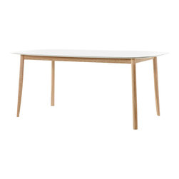 Mattiazzi - Mattiazzi Branca Table - With hectic lives and overdecorated spaces, simplicity can be refreshing. This table is designed for beautiful simplicity with a sculptural white lacquer top and natural beech legs that have a sliced taper at the bottom. It's a simple slice of design heaven for your home.