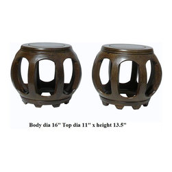 Pair Chinese Feather Pattern Wood Barrel Shape Stool -