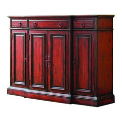 """Hooker Furniture - Hooker Furniture Vicenza 72in. Tall Waisted Credenza - With its dramatic designer red finish, this large-scaled credenza offers an impressive look for larger rooms. It boasts breakfront styling for added interest. It is featured in a rich red finish with authentic rub-through and painted hardware. It has three drawers with wallpaper liners including the center drawer with drop front for use with components, four doors with two shelves inside each door. Hardwood Solids & Veneers. Dimensions: 72""""W x 20""""D x 52""""H."""