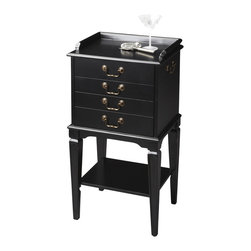 Butler Furniture - Silverware Chest Black - This elegant silver storage chest is ideal for protecting your flatware and dining keepsakes between gatherings. It features four felt-lined drawers with three partitioned sections in the top two. It is crafted from select hardwood solids with a four-way matched cherry veneer top framed within a cherry veneer end grain border. Antique brass finished hardware.