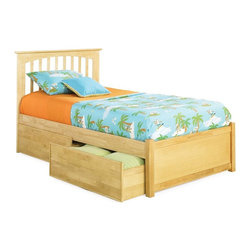 Atlantic Furniture - Brooklyn Platform Bed w Flat Panel Storage Bed Drawers (Full - Natural Maple) - Finish: Full - Natural Maple. Includes headboard and flat panel footboard, long rails, slat and underbed storage drawers. Mattress not included. Hook and pin assembly. Adjustable height design which allows you to use with or with out a foundation. Underbed drawers with casters. Clean Mission style. Made of eco-friendly solid hardwood. 1-Year manufacturer warranty. Twin: 79..33 in. L x 44 in. W x 44.29 in. H. Full: 79.33 in. L x 58.33 in. W x 44.29 in. H. Queen: 84.83 in. L x 65.13 in. W x 44.26 in. H. King: 84.83 in. L x 81.33 in. W x 44.26 in. H. Bed drawers: 74.13 in. L x 24.38 in. W x 12 in. HThe Brooklyn Platform bed has a clean mission style that will give any room a more polished look. Match it with our Windsor Case Goods and get that room you have always wanted. Made with our Eco-friendly Hardwood, which is harvested by hand, and by rule we replace what we use by planting another tree in its place. The Brooklyn has an adjustable height design which allows you to use with or with out a foundation, and may accept underbed storage drawers or trundle bed. This stylish piece will be the new centerpiece you have been looking for, and you can feel good about purchasing it.