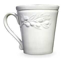 Cuisine De Provence Mug - Gracefully draped across the tapered walls of the Cuisine de Provence Mug, an exquisitely-modeled, low-relief olive branch adds a thoughtful freshness to the look of this pure white coffee mug or breakfast cup. With a simple arched handle, a grooved rim, and a gentle conical shape, this piece speaks of contemplative tastes and old-world inspirations.