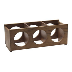Wooden Wine 3-Bottle Rack - Store wine bottles out of the way in this modern wooden wine rack.
