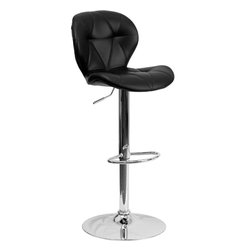 Flash Furniture - Contemporary Tufted Black Vinyl Adjustable Bar Stool with Chrome Base - With its tufted detailing, this adjustable height bar stool will make a lovely contemporary accent to your kitchen, dining, or bar area. The height adjustable swivel seat adjusts from counter to bar height with the handle located below the seat. The base and footrest have a chrome finish to complement the chair's modern design.