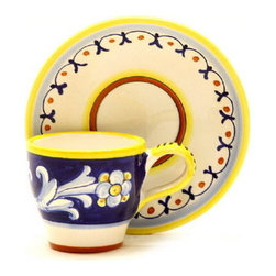 Artistica - Hand Made in Italy - ANTICO DERUTA: Classic Espresso Cup and Saucer - ANTICO DERUTA Collection: Throughout the years, our Antico Deruta collection has been always considered the most formal depiction of the Ricco Deruta pattern. Its classic Arabesque decorative pattern is composed of rhythmic, curvilinear designs painted in a unique combination of regal blue and bright yellow. The foliated scrollwork motif featured in this collection was also employed in the architectural decorations of late Roman and Renaissance periods.