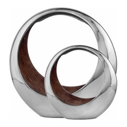 Modern Day Accents - Silver Ring Bowl - 3501 - Shop for Decorative Bowls and Vases from Hayneedle.com! A blend of textures makes the Silver Ring Bowl striking. Sure to add modern style to any display this ring bowl has a smooth polished aluminum exterior and textured brown interior. Available in size options which makes it easy to create a bold designer touch.Dimensions:Small: 11L x 7W x 11H in.Large: 16L x 8W x 16H in.About Modern Day AccentsModern Day Accents offers unique accessories for all decors. With a vast array of home accents from around the world including hand-crafted wood metal and glass mosaic their collection can fill any table wall or floor with refined luxury. Whether it s an accent table vase tray or sculpture they pride themselves in finding exceptional quality products to provide their customer with the ultimate in decorative home accessories.