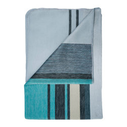 Shupaca - Azul Blanket/Throw - On a chilly day, what could be better than the brilliant blues of a tropical beach? When you curl up under this cozy blanket, the generous blend of acrylic and silky alpaca fibers with keep you toasty warm — and your imagination will carry you to Tahiti.
