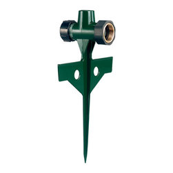 "Orbit - Orbit 1/2"" Thread Heavy Duty Sprinkler Head Step Spike for Garden Hose - 58197N - Easily connecting to any plastic or metal sprinkler head, this zinc heavy duty sprinkler spike base from Orbit is easy to insert and retract from the ground. With a 1/2-inch male-threaded connection, this spike step base is universal in connecting to any sprinkling head of that size. This is an excellent base constructed of zinc for years of durability and dependability. With connection to any standard garden hose, it can be used anywhere. Whether used as a single sprinkler head base or in a series in an above ground sprinkling system, this heavy duty sprinkler spike is an excellent value for quick and easy watering.Features and Benefits"