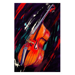 "Maxwell Dickson - Maxwell Dickson ""Double Bass""  Music Canvas Artwork Wall Art Print - We use museum grade archival canvas and ink that is resistant to fading and scratches. All artwork is designed and manufactured at our studio in Downtown, Los Angeles and comes stretched on 1.5 inch stretcher bars. Archival quality canvas print will last over 150 years without fading. Canvas reproduction comes in different sizes. Gallery-wrapped style: the entire print is wrapped around 1.5 inch thick wooden frame. We use the highest quality pine wood available."