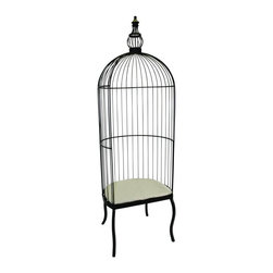 "Dr. Livingstone I Presume - Large Black Iron Birdcage Chair by Dr Livingstone - Without a doubt, the black iron birdcage chair, by Dr. Livingstone, is the perfect spot to perch yourself. Not only is this ideal for inside, it's finish is outdoor safe. The cushion is not included, to find a fun fabric to compliment. How about something tropical with colorful birds? (DIL) 88.5"" high x 28"" wide x 22.5"" deep Seat Height: 20.5"" Seat Inside Width: 26.5"""