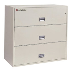 SentrySafe - SentrySafe L4310 Insulated 3 Drawer Lateral Filing Cabinet - 43 Inch - 3L4310B-C - Shop for File and Storage Cabinets from Hayneedle.com! The stunning quality of the SentrySafe L4310 Insulated 3 Drawer Lateral Filing Cabinet - 43 Inch makes it the ideal candidate for storing important items of every shape and size in your office or at home. This sleek cabinet is constructed from heavy-duty metal that's been thoroughly insulated against dust and debris and provides phenomenal fire protection. UL-Classified explosion resistance and fire endurance for up to one hour of 1700-degree temperatures make this a formidable chest that you can always depend on to keep your business records and valuables safe. Of course it isn't always the elements that pose a threat to your treasured keepsakes and important documents. To provide maximum security a plunger key lock has been included to secure all three drawers. A drawer specific lock/unlock function is also featured so you can isolate access to certain drawers while keeping others tightly sealed. Each of these drawers opens with easy-to-use recessed handles with label holders and accommodates letter- and legal-size hanging file folders. Lockpicks sledgehammers and crowbars are no match for this SentrySafe. In addition to its incredible fire resistance this cabinet has also been proven to remain fully functional following a 30-foot drop. The overall dimensions of this unit are 42.8W x 20.5D x 40.6H inches. Available in your choice of black gray light gray sand tan and putty finish.About SentrySafeFor over three generations family-owned SentrySafe has been with you protecting your valuables providing you peace of mind. SentrySafe uses rigorous testing standards to ensure your items are protected from fire water and theft. They offer safes in a wide range of sizes and types and continue to innovate protection technology. They are proud to make all of their products right here in the United States. SentrySafe is a name you can trust for all your irreplaceable items.