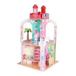 Teamson Design Shopping Center Doll House - The Teamson Design Shopping Center Doll House lets your kids shop till they drop without charging up the credit cards! This fun play center features a wood construction with a two-level mall design. Hand-painted details add fun and color. Kids can use the included 13 accessory pieces to create their own departments like a stylish beauty salon, rockin' music store, cute pet shop, or a fashionable clothing boutique.About Teamson DesignBased in Edgewood, N.Y., Teamson Design Corporation is a wholesale gift and furniture company that specializes in handmade and hand-painted kid-themed furniture collections and occasional home accents. In business since 1997, Teamson continues to inspire homes with creative and colorful furniture.