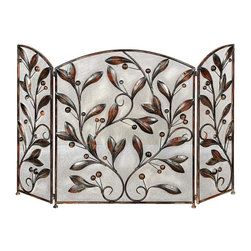 Woodland Imports - Antique Metal Fireplace Screen Bronze Leaf Art Living Room Decor - Beautiful antique inspired style metal fireplace screen with a bronze finish and leaf art design living room decor