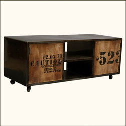 "Industrial Reclaimed Wood & Iron Rustic Media Center TV Stand Rolling Cabinet - We combined the industrial style with campy doors for a fun, relaxedlook. This entertainment center is made to fit all of your needs. Thetwo center shelves are built with an open back for easy access tooutlets. The two side cabinets offer large square storage spaces. The47"" long top works as a TV stand for most televisions."
