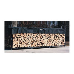 Woodhaven - 12 Foot Firewood Rack w Standard Cover - Includes standard short cover. Black plated stainless steel nuts and bolts. Arc welded end sections. Drill precision holes. Powder coated finish. Require 12 ft. of level stable space. Cover allows airflow to prevent mold, mildew and promote curing process. Protects top of firewood from weather. Four reinforced pockets allow cover to slide down on vertical tubes to level of firewood. Reinforced stitching in all stress points. Velcro panel for quick and easy access to firewood. Accommodates upto 24 in. firewood. Lifetime structural warranty. Made from mild steel. Made in USA. Assembly required. 144 in. L x 14 in. W x 48 in. H (68 lbs.)