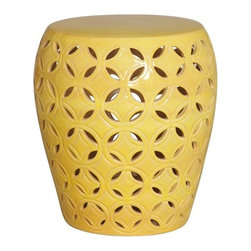 Emissary - Large Lattice Garden Stool-Blue, Yellow - This lovely lattice patterned garden stool is perfect for use as a side table or as an outdoor patio accessory. This gorgeous yellow stool can even be used as a seat or even as a base for a table top.