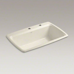 """KOHLER - KOHLER Cape Dory(R) 33"""" x 22"""" x 9-5/8"""" top-mount single-bowl kitchen sink with 2 - The Cape Dory sink is a kitchen classic, with its generous single bowl that simplifies the task of washing large pots and pans. Crafted from enameled cast iron, this sink resists chipping, cracking, or burning for years of beauty and reliable performance."""