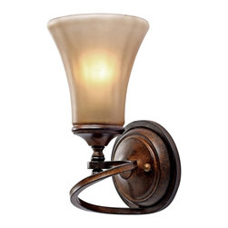 Golden Lighting - Loretto 1-Light Wall Sconce - Bulb not included. Requires one 100 watt medium base incandescent type A bulb. Electric wire gauge: 18# 3321 150°C. Transitional style. Riffled tannin glass. Works well in multiple settings. Organic design inspired by nature for casual elegance. UL listing: damp. One E27 socket. Made from metal and glass. Russet bronze color. Wire length: 8 in.. Shade: 5.75 in. Dia. x 6 in. H. Backplate: 5.5 in. W x 1.75 in. H. Fixture extension: 6.5 in.. Overall: 5.75 in. W x 11.25 in. H (2.1 lbs.). Warranty. Assembly InstructionsHand blown water glass with a four step finish resembles a blooming flower. Popularly used in halls, stairways, entrys and as an accent.