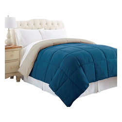 Down alternative reversible comforter King Celestial Blue/Oatmeal - Comforter sets aren't just for sleeping. They can also be regarded, like armoires and suits of armor, as a practical piece of art for the bedroom. Drift off to sleep with this Down Alternative Comforter to keep you warm. The lightweight hypoallergenic microfiber fill provides superior comfort to your restful sleep time. Hypoallergenic. Works well for all seasons.