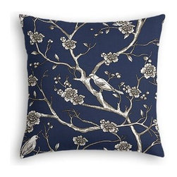 Blue Modern Chinoiserie Custom Euro Sham - The secret to those perfectly made beds you eye in magazines? Euro shams. Complete your bed set with a set of Simple Euro Shams for a look that�۪s as stylish as it is snuggly.  We love it in this dark blue and white modern chinoiserie print with blossoms and birds branching out across a soft lightweight cotton.