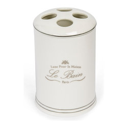 Kassatex - Kassatex Le Bain Collection Toothbrush Holder - Consider it a sort of adult tooth fairy. Every time you reach for your toothbrush, this holder will reward you with visions of Paris.