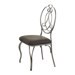 Steve Silver Furniture - Steve Silver Ceasar Side Chair w/ Durable Metal Base [Set of 2] - Side Chair w/ Durable Metal Base belongs to Ceasar Collection by Steve Silver The Ceasar side chairs are waiting to make a statement in your home! The elegant side chairs are adorned with a decorative metal back design finished with wishbone shaped front legs.  Seats are upholstered in an easy to care for dark grey polyester fabric  Side Chair (2)