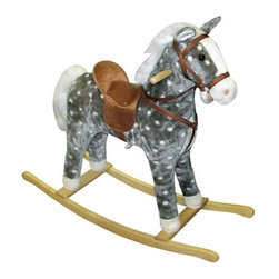 Fifthroom - Plush Dotty Rocking Horse - The sturdy frame is covered with soft, easy to care for plush fabric.  The wooden handles allow your little one to hold on for safety.  It is recommended for ages 3 and up and will hold up to 80 lbs.