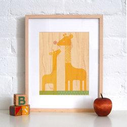 Petit Collage Giraffe Baby - Print on Wood - Giraffe Baby - Print on Wood