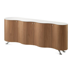 DomItalia Furniture - Domitalia Walnut Palio Sideboard / Extra White Glass Top - Unique style and storage space in the Palio Walnut Sideboard with Extra White Glass Top will make it one of your favorite home accents. 4 doors open spacious storage areas and its reliable construction is for decades of use. White tempered glass top and chromed metal support will ideally suit your surroundings.