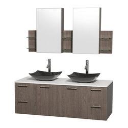 "Wyndham Collection Amare 60"" Vanity, Man-Made Stone Top,Black Granite Sinks - Wyndham Collection®"