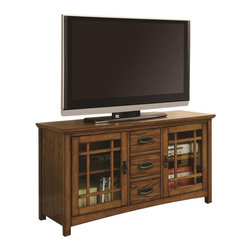 """Coaster - Coaster TV Console with Windowpane Door Fronts in Oak - Coaster - TV Stands - 700690 - The relaxed natural look of this TV console will blend flawlessly with your home d��cor. Finished in an inviting warm brown oak this impressive piece features two glass doors with windowpane-style fronts and two shelves behind each. Three center drawers provide convenient extra storage space. The top panel accommodates a television set up to 46"""""""" in diameter."""
