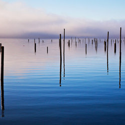 Out of the Mist 1 by Lee Rentz - Posts sticking out of saltwater in Washington's Hood Canal. The vertical lines created by the posts are perfect for spaces in need of height. About $650 for a 32 x 24 inch piece. Available in other sizes. Visit http://www.printedart.com for more info.