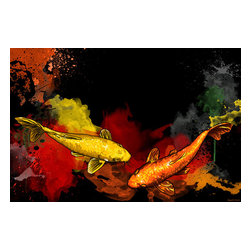 """Maxwell Dickson - Maxwell Dickson """"Koi Fish"""" Asian Graffiti Pop Art Canvas Print Artwork - We use museum grade archival canvas and ink that is resistant to fading and scratches. All artwork is designed and manufactured at our studio in Downtown, Los Angeles and comes stretched on 1.5 inch stretcher bars. Archival quality canvas print will last over 150 years without fading. Canvas reproduction comes in different sizes. Gallery-wrapped style: the entire print is wrapped around 1.5 inch thick wooden frame. We use the highest quality pine wood available."""