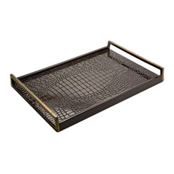 Kathy Kuo Home - Irwin Hollywood Regency Brown Faux Crocodile Lacquer Wood Serving Tray - Slow and steady wins the race, not only in the Aesop fable, but with baking and serving delicious refreshments to your guests. From toasting with champagne to enjoying coffee after dinner, this rich, brown tortoise and crocodile textured tray serves up winning style every time.