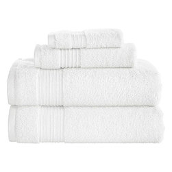 Better Homes and Gardens 4-piece Solid Towel Set, Arctic White - Buy a ton of all-white towels. The Better Homes and Gardens brand at Walmart is great quality for the price. All white makes for an easy wash day: Just toss them in the machine with bleach to keep them looking fresh.