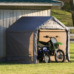 Shelter Logic - ShelterLogic Shed-in-a-Box in Grey - ShelterLogic Shed-In-A-Box is designed for easy set up, portability and value. It's an efficient and affordable way to store motorcycles, ATVs, lawn/garden tractors, snowmobiles and other bulk storage.