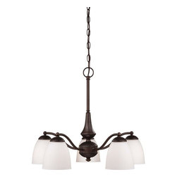 Glomar - Glomar Chandeliers 5-Light Prairie Bronze Chandelier with Frosted Glass Shade - Shop for Lighting & Ceiling Fans at The Home Depot. This Energy Star rated and classically inspired series finished in prairie bronze and accented by frosted glass shades is the largest and most versatile of our new design collections. In addition to the usual configurations this series features a 4-light vanity a flush dome and 3 and 5-light chandeliers which are available in both arm-up and arm-down configurations. There is nowhere these energy efficient fixtures cannot go. Energy saving GU24 base CFL's is included with these fixtures.