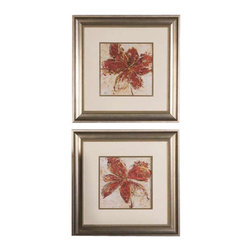 Uttermost Floral Gesture Framed Art Set/2 - Frames and fillets have a silver leaf base with a light brown, gray and black wash. These vibrant prints are accented by faux, beige linen mats. Frames and fillets have a silver leaf base with a light brown, gray and black wash. Prints are under glass.