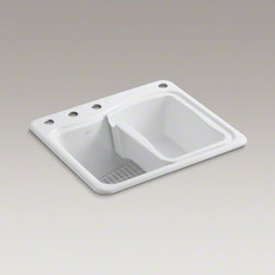 KOHLER - KOHLER River Falls(TM) top-mount utility sink with 4 faucet holes - 3-holes on d - Get the job done more quickly with the River Falls utility sink. Designed to handle all household laundry and cleanup tasks, this durable sink has an extra-deep basin, an integral washboard, and space to add a built-in soap or lotion dispenser. A soaking pan and wire rack are included to provide moveable work areas for soaking, spot treating, and other laundry tasks. Crafted from enameled cast iron, this sink resists scratching, burning, and staining for years of beauty and reliable performance.
