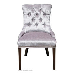 ARTeFAC - 2 - Accent Tufted Fabric Dining Chair with Silver Nail Head, Silver Grey - 2 - Accent Tufted Fabric Dining Chair in Silver Grey Linen with Silver Nail Head