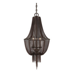 Uttermost - Lezzeno 3-Light Chandelier - You already know how a piece of jewelry can be the final touch to your fashionable outfit. Think of this extraordinary chandelier as the fabulous earring dangling from the ceiling of one of your stylish rooms.