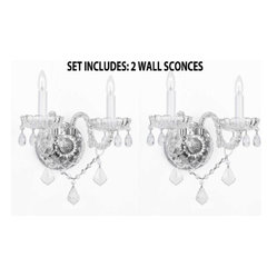 "The Gallery - SET OF 2 MURANO VENETIAN STYLE CRYSTAL WALL SCONCES LIGHTING! - THIS AUCTION IS FOR A SET OF 2 WALL SCONCES. THESE MAGNIFICENT WALL SCONCES ARE ALL 100% CRYSTAL. Nothing is quite as elegant as the fine crystal wall sconces that gave sparkle to brilliant evenings at palaces and manor houses across Europe. These beautiful wall sconces are decorated with 100% crystal that capture and reflect the light of the candle bulbs, each resting in a scalloped bobache. The crystal glass arms of this wonderful wall sconces give it a look of timeless elegance that is sure to lend a special atmosphere in any home. ASSEMBLY REQUIRED. Size: H10"" W10"" 2 LIGHTS Finish: Silver Finish  2EA G46-B12/2/386"