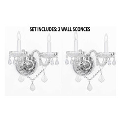 The Gallery - Set of 2 Moreno Venetian Style Crystal Wall Sconces Lighting - This auction is for a set of 2 wall sconces. These magnificent wall sconces are all 100% crystal. Nothing is quite as elegant as the fine crystal wall sconces that gave sparkle to brilliant evenings at palaces and manor houses across Europe. These beautiful wall sconces are decorated with 100% crystal that capture and reflect the light of the candle bulbs, each resting in a scalloped bob ache. The crystal glass arms of this wonderful wall sconces give it a look of timeless elegance that is sure to lend a special atmosphere in any home.