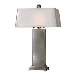 Uttermost - Metal Contempo Table Lamp - When hard meets soft, this stunning rectangular table lamp is the result. Sleek and clean, the satin-finished, nickel metal base is topped by an oversized, ivory linen rectangular shade. It will fire your imagination.