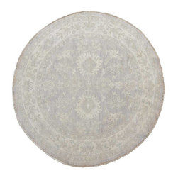 Stone Wash Peshawar 100% Wool Round 5'x5' Hand Knotted Oriental Rug SH15427 - Hand Knotted Oushak & Peshawar Rugs are highly demanded by interior designers.  They are known for their soft & subtle appearance.  They are composed of 100% hand spun wool as well as natural & vegetable dyes. The whole color concept of these rugs is earth tones.