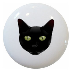 Carolina Hardware and Decor, LLC - Black Cat Head Ceramic Cabinet Drawer Knob - New 1 1/2 inch ceramic cabinet, drawer, or furniture knob with mounting hardware included. Also works great in a bathroom or on bi-fold closet doors (may require longer screws). Item can be wiped clean with a soft damp cloth. Great addition and nice finishing touch to any room!