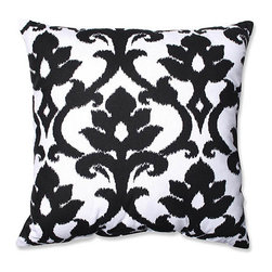 Pillow Perfect - Azzure Black and White 23-Inch Square Floor Pillow - - We love the stark difference of these two contrasting hues against each other. A rich black ikat pattern beautifully adorns this bright white throw pillow. This eye-catching throw pillow will compliment modern decor perfectly. Give your space a bold personality with this striking accent pillow  - Cover Material: 100 percent Cotton  - Fill Material: Plush Filling - 100 percent Polyester Fiber  - Measures: 23-Inches H X 23-Inches W X 5-Inches D  - Knife Edge and Sewn Seam Closure  - Spot Clean Only  - Made in the USA Pillow Perfect - 560076