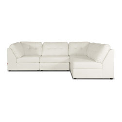Baxton Studio - Baxton Studio Warren White Leather Modern Modular Sectional Sofa Set - The merits of our Warren Modern Sectional are threefold: a modular design, supple cushioning, and easy-to-clean off-white bonded leather. Without question, this is one of the most comfortable bonded leather