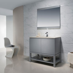 Modern Bathroom Vanities - The Emmet collection is a celebration of modern and elegant design. The open shelf will transform an ordinary bathroom into your own personal everyday spa. It features a hidden drawer to keep those small toiletries handy. Add chic style to your home with the sleek look of the Emmet collection.